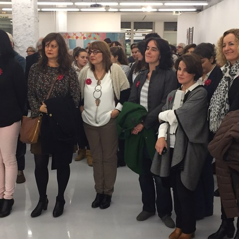 The group Doce Miradas (Twelve Looks) at the opening of the Karakorum exhibition.
